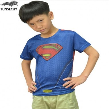 2018 Brand Captain America Superman Children'S Round Collar Short Sleeve T-Shirt Wholesale And Retail Free Transportation