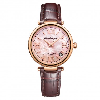 Reef Tiger / RT 2020 Top Brand Luxury Gold Watch Automatic Day Date Watch Waterproof Genuine Leather Watch RGA1595-PPW