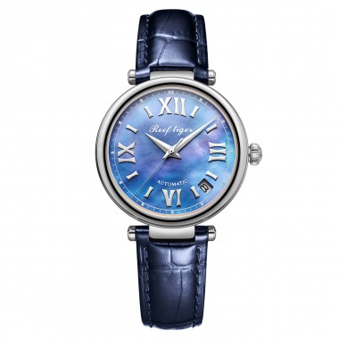 Reef Tiger/RT Luxury Automatic Mechanical Watch Steel Ladies Date Leather Band RGA1595-YLL