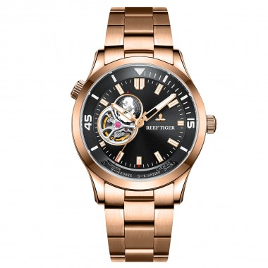 Reef Tiger/RT Top Luxury Automatic Mechanical Watch Men Fashion Rose Gold Full Stainless Steel Watch RGA1693-2-PBP