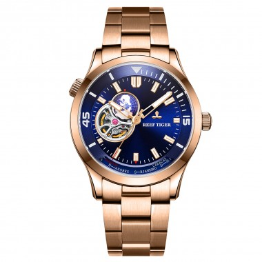 Reef Tiger/RT Top Luxury Automatic Mechanical Watch Men Fashion Rose Gold Full Stainless Steel Watch RGA1693-2-PLP