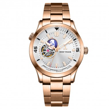 Reef Tiger/RT Top Luxury Automatic Mechanical Watch Men Fashion Rose Gold Full Stainless Steel Watch RGA1693-2-PWP