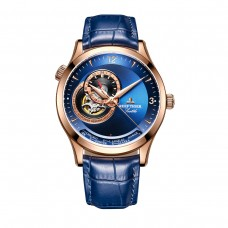 Reef Tiger/RT Casual Automatic Watches for Men Rose Gold Blue Dial Watch Leather Strap RGA1693