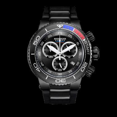 Reef Tiger/RT Top Brand Luxury Military Watches Black Steel Analog Quartz Running Watches Relogio Masculino RGA3168-BBB