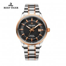 Reef Tiger/RT Watches Steel/Rose Gold Two Tone Business Dress Watch For Men Miyota 9015 Super Luminous Automatic Watches RGA8015-PBT
