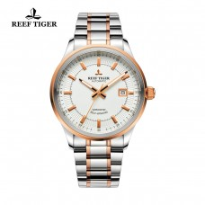Reef Tiger/RT Watches Steel/Rose Gold Two Tone Business Dress Watch For Men Miyota 9015 Super Luminous Automatic Watches RGA8015-PWT