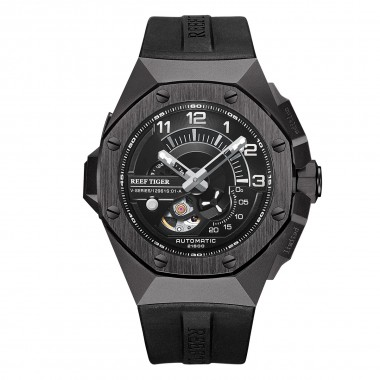 Reef Tiger/RT Top Brand All Black Automatic Mechanical Sport Watches Waterproof Relogio Masculino RGA92S7