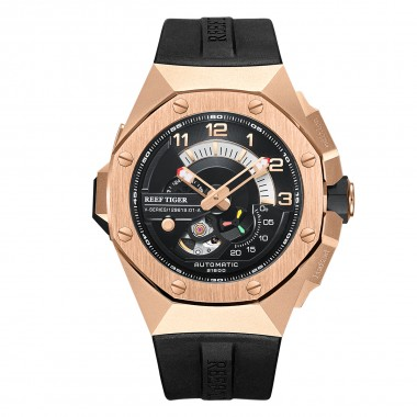 Reef Tiger/RT Automatic watch Luxury Men Watches Automatic Rose Gold Watch Men Waterproof Automatic Mechanical Watch RGA92S7