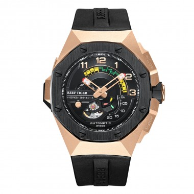 Reef Tiger/RT Automatic Luxury Men Watches Automatic Rose Gold Watch Men Waterproof Automatic Mechanical Watch RGA92S7