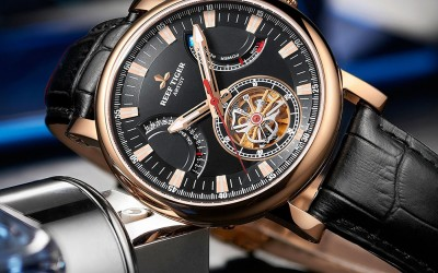 The Amazing Reef Tiger Artist Photographer Rose Gold Case With Black Dial Black Leather Strap Tourbillon Watch RGA1950