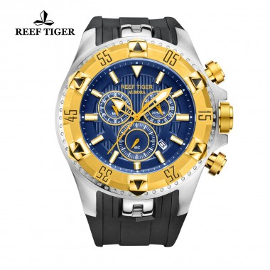 Reef Tiger/RT Men's Sports Quartz Watches with Chronograph and Date Blue Big Dial Super Luminous Steel Yellow Gold Stop Watch RGA303