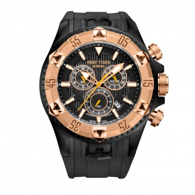 Reef Tiger/RT Sports  Men Watches with Chronograph and Date Big Dial Super Luminous Steel Designer Quartz Watch RGA303