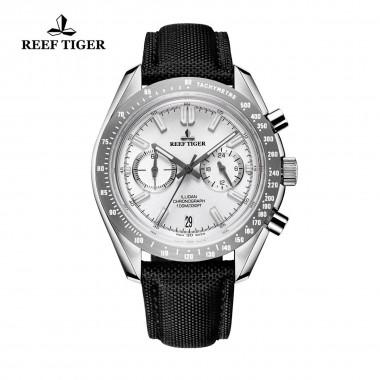 2018 Reef Tiger/RT Mens Designer Sport Watches with Calfskin Nylon Strap 316L Steel Luminous Chronograph Watch RGA3033