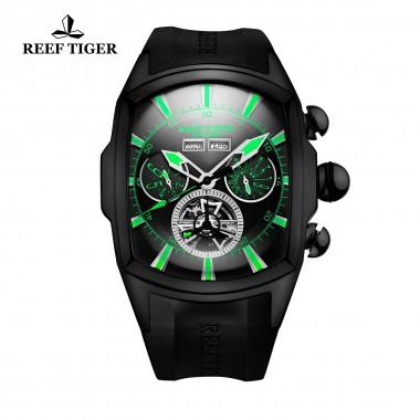 Reef Tiger/RT Fashion Mens Sport Watches Black Steel Rubber Strap Luminous Tourbillon Watch Analog Automatic Watches RGA3069