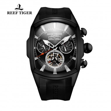Reef Tiger/RT Mens Casual Sport Watches Black Steel Rubber Strap Luminous Tourbillon Watch Analog Automatic Watches RGA3069