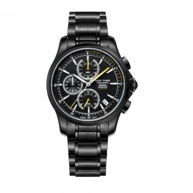 Reef Tiger/RT Mens Sport Quartz Watches with Chronograph and Date Black Steel Casual Stop Watch with Super Luminous RGA1663