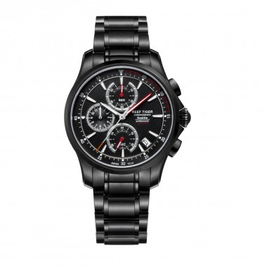 Reef Tiger/RT Mens Sport Quartz Watches with Chronograph and Date Black Steel Casual Stop Watch with Super Luminous RGA1663-BBBR