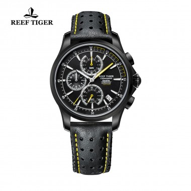 Reef Tiger/RT Mens Sport Quartz Watches with Chronograph and Date Black Steel Casual Stop Watch with Super Luminous RGA1663-BBLG