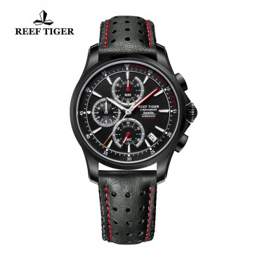 Reef Tiger/RT Mens Sport Quartz Watches with Chronograph and Date Black Steel Casual Stop Watch with Super Luminous RGA1663-BBLR