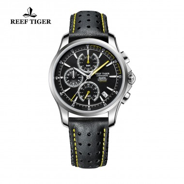 Reef Tiger/RT Mens Sport Quartz Watches with Chronograph and Date Black Casual Stop Watch with Super Luminous RGA1663-YBLG