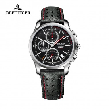 Reef Tiger/RT Mens Sport Quartz Watches with Chronograph and Date Black Steel Casual Stop Watch with Super Luminous RGA1663-YBLR