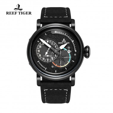 Reef Tiger/RT Black PVD Steel Military Watches for Men Genuine Leather Strap Automatic Pilot Watch with Date RGA3019