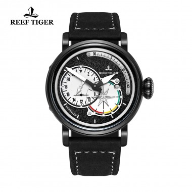 Reef Tiger/RT Mens Casual Black PVD Military Watches Genuine Leather Strap Automatic Pilot Watch with Date RGA3019