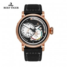 Reef Tiger/RT Men's Pilot Watches with Date Leather Strap Rose Gold Black Dial Watch Automatic Military Watch RGA3019