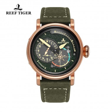 Reef Tiger/RT Men's Pilot Green Dial Watches with Date Leather Strap Rose Gold Watch Automatic Watches Military Watch RGA3019