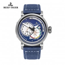 Reef Tiger/RT Mens Pilot Steel Watches with Date Blue Dial Watch Automatic Watches Military Leather Strap Watch RGA3019