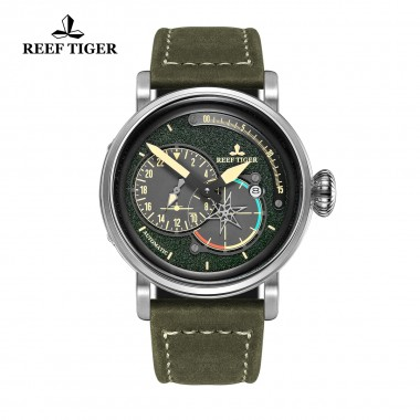 Reef Tiger/RT Men's Fashion Pilot Watches with Date Green Dial Leather Strap Watch Automatic Watches Military Watch RGA3019