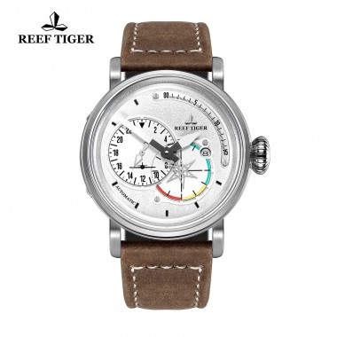 Reef Tiger/RT Men's Pilot Watches White Dial with Date Leather Strap Steel Watch Automatic Watches Military Watch RGA3019