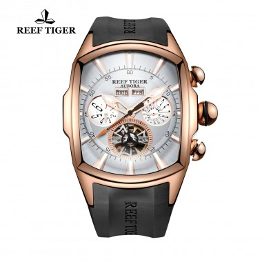 Reef Tiger/RT Mens Sport Watch Luminous Big Dial Analog Display Tourbillon Watches Rose Gold Dial Wrist Watches RGA3069