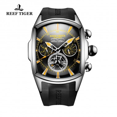 Reef Tiger/RT Designer Steel Sport Watches with Tourbillon Rubber Strap Black Dial Automatic Watch For Men RGA3069