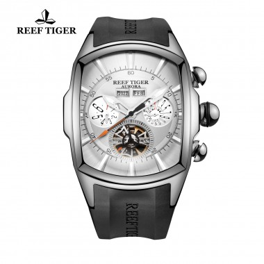 Reef Tiger/RT Fashion Men's Sport Watches with Big Dial Tourbillon Stainless Steel Rubber Strap Automatic Watch RGA3069