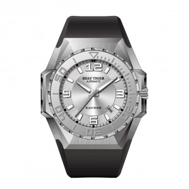 Reef Tiger/RT Luxury Big Sport Watches Steel Case Automatic Mechanical Waterproof Rubber Strap Military Watches RGA6903