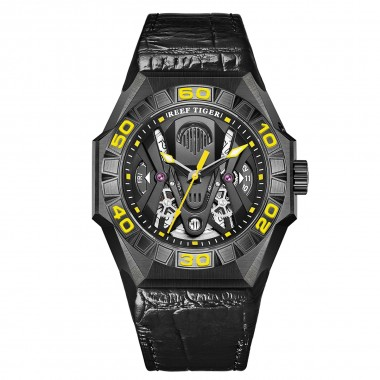 Reef Tiger Limited Watch Men Automatic Mechanical All Black Skeleton Waterproof Leather Strap RGA6912-BBGL