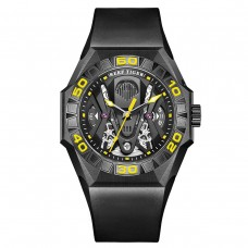 Reef Tiger Limited Watch Men Automatic Mechanical All Black Skeleton Waterproof Rubber Strap RGA6912-BBGR
