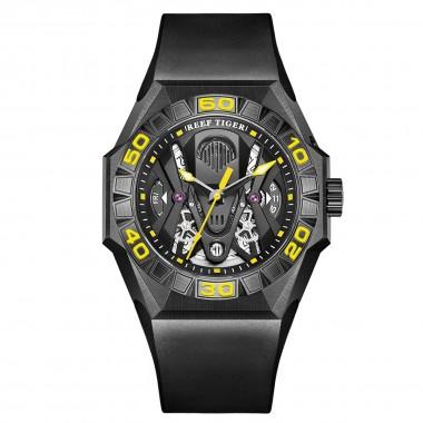 Reef Tiger Limited Watch Men Automatic Mechanical All Black Skeleton Waterproof Rubber Strap RGA6912-BBGR