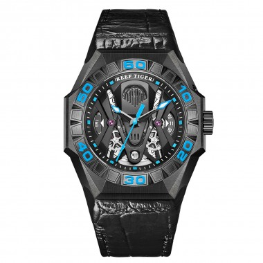 Reef Tiger Limited Watch Men Automatic Mechanical All Black Skeleton Waterproof Leather Strap RGA6912-BBLL