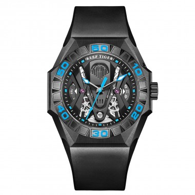 Reef Tiger Limited Watch Men Automatic Mechanical All Black Skeleton Waterproof Rubber Strap RGA6912-BBLR