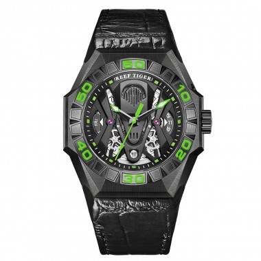 Reef Tiger Limited Watch Men Automatic Mechanical All Black Skeleton Waterproof Leather Strap RGA6912-BBNL