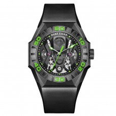 Reef Tiger Limited Watch Men Automatic Mechanical All Black Skeleton Waterproof Rubber Strap RGA6912-BBNR