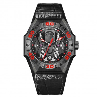 Reef Tiger Limited Watch Men Automatic Mechanical All Black Red Skeleton Waterproof Leather Strap RGA6912-BBRL