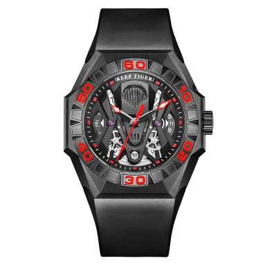 Reef Tiger Limited Watch Men Automatic Mechanical All Black Red Skeleton Waterproof Rubber Strap RGA6912-BBRR