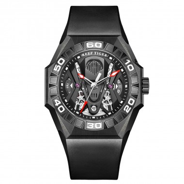 Reef Tiger Men Sport Watches Automatic Mechanical Skeleton Watch All Black Waterproof Rubber Strap RGA6912-BBBR