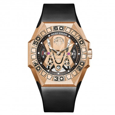 Reef Tiger Men Sport Watches Automatic Mechanical Skeleton Watch Rose Gold Waterproof Rubber Strap RGA6912-PPBR