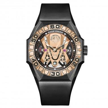 Reef Tiger Men Sport Watches Automatic Mechanical Skeleton Watch Waterproof Rubber Strap RGA6912-TPBR