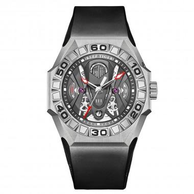 Reef Tiger Men Sport Watches Automatic Mechanical Skeleton Watch Steel Waterproof Rubber Strap RGA6912-YBBR