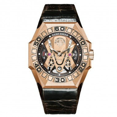 Reef Tiger  Men Sport Watches Automatic Skeleton Watch Rose Gold Waterproof Leather Strap RGA6912-PPWL